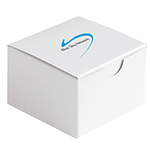 small white box with a blue swoosh logo on top