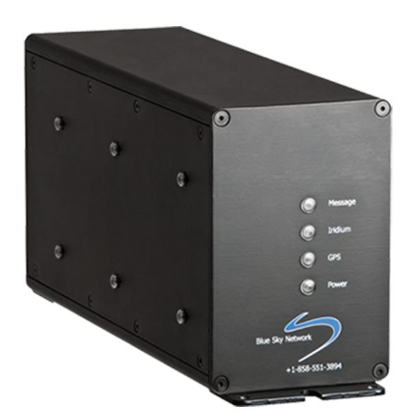 a black, rectangular, metal modem with four indicator lights on the front