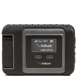 image of a small gray, rugged looking device with an led screen on front