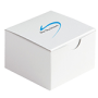 a small white box with a blue swoosh logo on the top